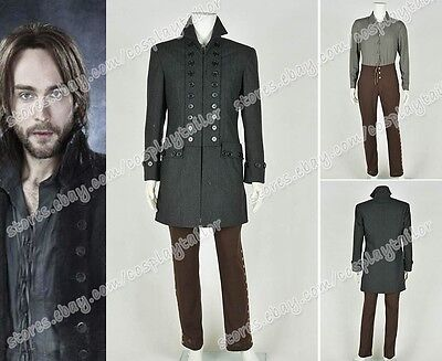 Sleepy Hollow Cosplay Ichabod Crane Costume Coat Shirt Pants Halloween Clothing