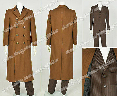 Who Purchase Doctor Cosplay Costume Brown Trench Coat Strip Suit Full Set New](Purchase Costumes)