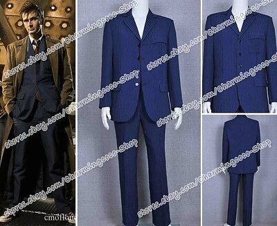 Costume Purchase (Doctor Purchase Who Cosplay Dr Blue Strip Suit Halloween Party Outwear)