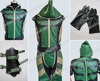 Smallville Superman Cosplay Green Arrow Costume Artificial Leather Jumpsuit Cool