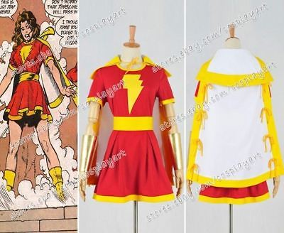 Captain Marvel Cosplay Mary Marvel Heroine Shawl Dress Costume Party Clothing - Marvel Heroines Costumes