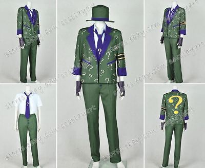 Arkham City Riddler Halloween Costume (Batman: Arkham City Cosplay The Riddler Dr. Edward Nigma Costume Halloween)