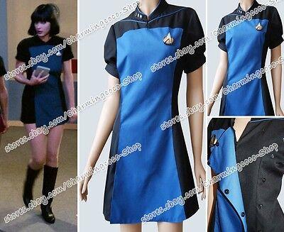 Star Trek TNG Skant Schwarz Blau Weiblich Uniform Party Halloween Cosplay Kostüm