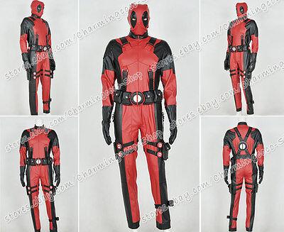 Deadpool Halloween Cosplay Wade Kostüm Herren Lederbekleidung Maske