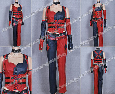 Batman Cosplay Arkham City Harley Quinn Costume Leather  Halloween Clothing - Harley Quinn Leather Costume