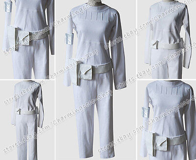 Star Wars Padme Amidala Cosplay Costume Uniform Dress White Cotton High Quality (Padme White Costume)