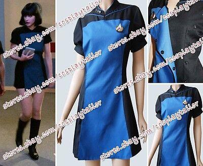 Star Trek TNG Skant Black Blue Lady Uniform Cosplay Costume Girl Party Halloween (Star Trek Tng Halloween Costumes)