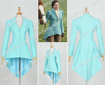 Once Upon A Time Cosplay Evil Queen Regina Mills Costume Tailing Suit Coat Blue  - Once Upon A Time Cosplay Costumes