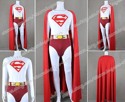 Clark Halloween Costume (Superman Cosplay Clark Kent Costume Jumpsuit Red Cape High Quality Halloween)