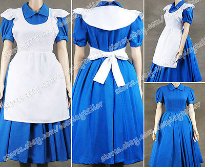 Alice In Wonderland Cosplay Costume Apron Blue Maid Dress Movie Clothes Hot Sale - Girls In Hot Costumes