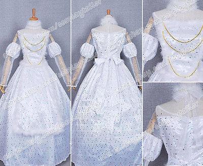 Alice In Wonderland Cosplay White Queen Dress Beautiful Costume Halloween New (White Queen Alice In Wonderland Halloween Costume)