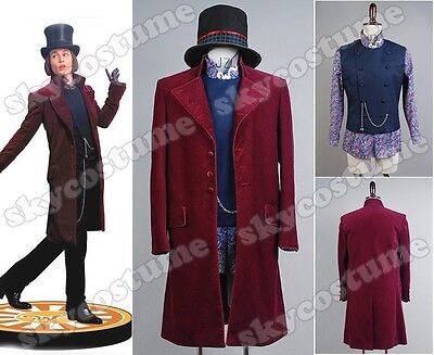 Charlie And Chocolate Factory Costume (Willy Wonka Charlie and the Chocolate Factory Johnny Depp Cosplay Costume Suit)
