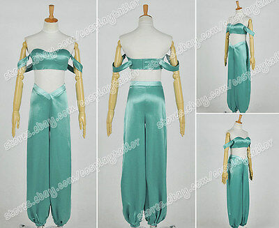 Aladdin And His Lamp Cosplay Princess Jasmine Costume Green Blue Dress Whole - Jasmine And Aladdin Adult Costumes