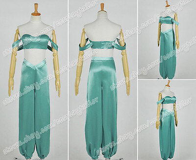Aladdin And His Lamp Cosplay Princess Jasmine Costume Green Blue Dress Whole Set - Jasmine And Aladdin Costumes