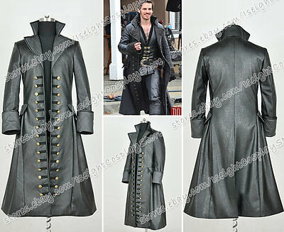 Once Upon A Time 3 Cosplay Captain Hook Cool Costume Trench Coat Jacket Black