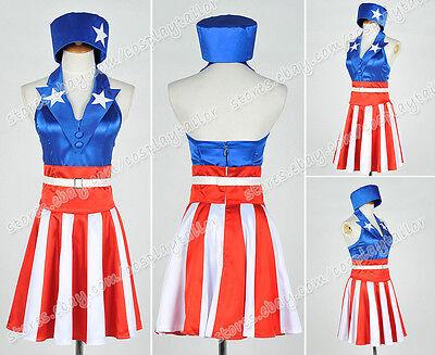 The Avengers Captain America Cosplay Costume Dress Suit Red White Stripes Skirt