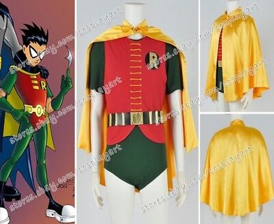 1966 Robin Costume (Batman 1966 Robin Cosplay Costume Yellow Cape Green Jumpsuit Cos Party)