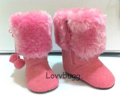 "Lovvbugg Pink Fur Top Boots for 18"" American Girl n Bitty Baby Doll Shoes"