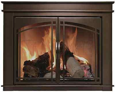 Fireplace Glass Doors Pleasant Hearth Fenwick Bronze w/ Smoke Tempered Glass ()