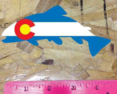 Rainbow Trout Fish Angler Colorado State Flag Die Cut Sticker Decal 4""