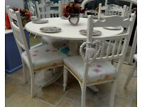 Shabby chic vintage table and 4 x antique upholstered chairs