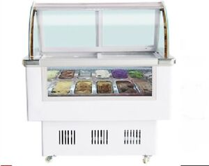 Gelato Case 12 PAN Hard Ice Cream Dipping Cabinet Freezer Display Cabinet F10