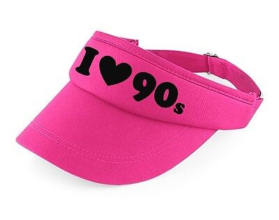 I Love The 90s Visor - 90's Fancy Dress Costume Outfit Neon Party Hat - 90s Party Outfit
