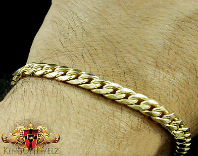 10k Yellow Gold Mens Womens Solid Cuban Curb Link Bracelet Chain 5mm-11mm 8 Inch Curb Mens Gold Bracelet