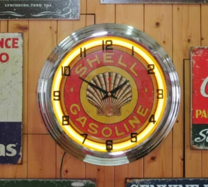 SHELL OIL Shiell Gasoline Neon Clock 48.5cm USA from Japan F/S