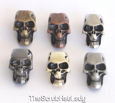 metal skull beads for paracord lanyards U pick finish & quantity large 6mm hole ()