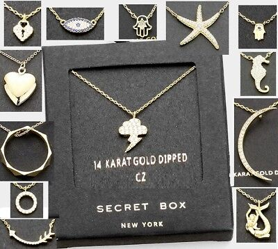 Small Pendant Box - 14k Gold Dipped Small Crystal Pendant GIFT SECRET BOX Necklace 18