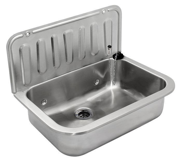Edelstahl Ausgussbecken Waschbecken für Werkstatt Garten Hof Wandmontage