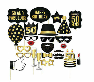 26PCS 50th Fiftieth Year Birthday Party Masks Favor Photo Booth Props US SHIP