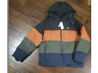 Lacoste padded hooded colour block puffer jacket in black RRP £315 BNWT