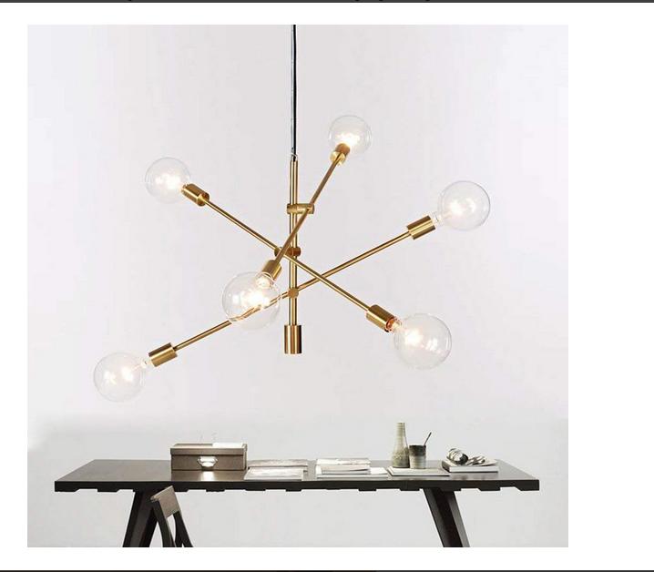 Details About Gold Sputnik Chandelier Pendant Lighting 6 Lights Mid Century Ceiling Light