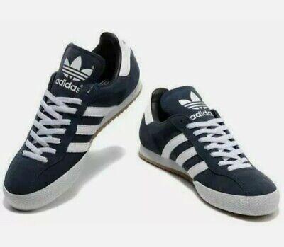 adidas original samba navy blue white super suede trainer men`s sneaker  UK 7-12
