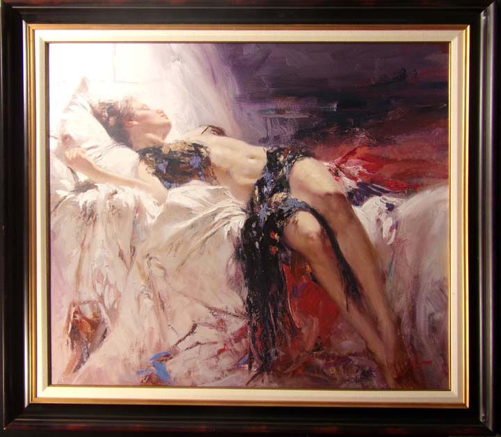 """Pino """"morning Dreams"""" Framed Hand Signed & Embellised Giclee On Canvas L@@k!"""