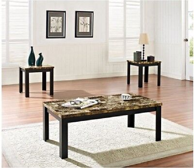 Faux Marble 3 Piece Coffee and End Table Set, Brown and Black New