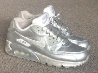 Air max 90 ltd edition silver leather size 4.5 women's/teens