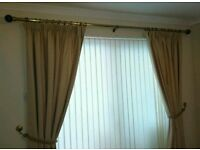 Beige lined heavy curtains