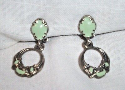 SILVER & PISTACHIO GREEN ENAMEL CLIP ON EARRINGS DROP MIXED MATERIALS ANTIQUE