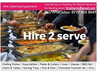Hire Chafing Dishes, Serving Dishes, Party Hire catering equipment for rent Reading. Soup Kettles