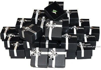 LOT OF 100 BOXES BlLACK RING BOXES BOW TIE GIFT BOX JEWELRY BOX WHOLESALE BOXES