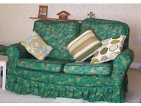 2 x2 Seat Settee and Square Pouffe