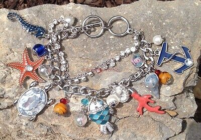 Wholesale Lot 20 Sea Creature Charm Bracelet Nautical Starfish Beach Silver