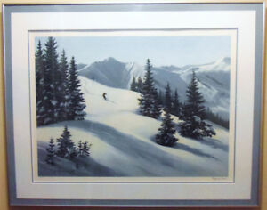 Signed, Framed, Numbered Print 'Mountain Snow' by Maynard Reece