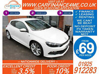2013 VW SCIROCCO 2.0 TSI R-LINE GOOD / BAD CREDIT CAR FINANCE FROM 69 P/WK