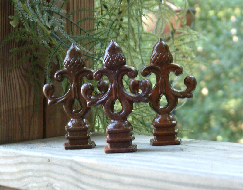 TEN ACORN FINIALS Iron Cast  Wrought Garden Fence