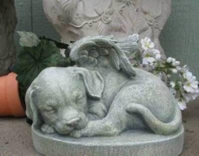 Puppy Dog Angel 9 in Garden Statue Pet Memorial Grave Marker Stone Durable Resin