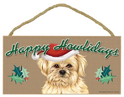 Lhasa Apso Happy Howlidays Santa Hat Wood Funny Christmas Dog Sign Plaque USA